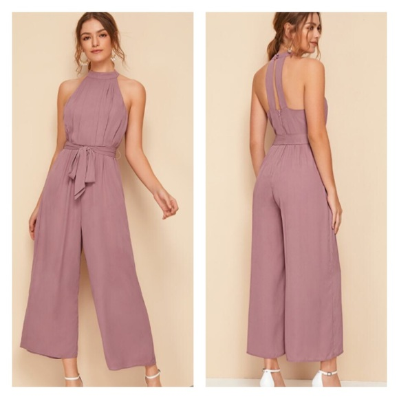 Shein Belted Wide Leg Sleeveless Jumpsuit As Is